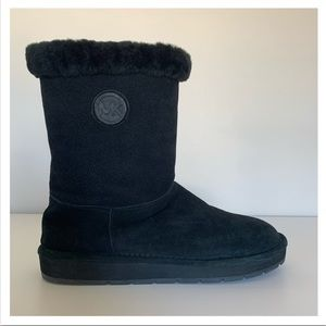 MICHAEL KORS Black Suede Mid-Calf Sheep Fur Boots